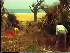White girl on African beach vintage