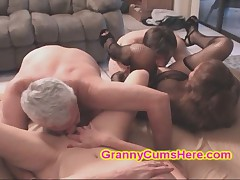 My two SLUTTY Granny Friends eat CUM