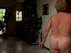 Mature chubby woman in action