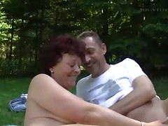 2 mature german women and a guy in the garden