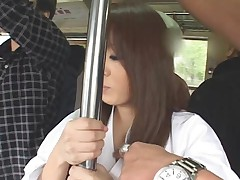 Japan bus facial big tits kimono brunette