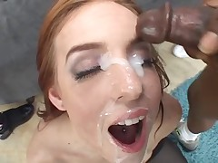 White girl throated hard by multiple black cock