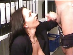 Busty inexpert fucked coupled with fisted convenient office