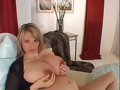 Busty prego dildoing her wet pussy