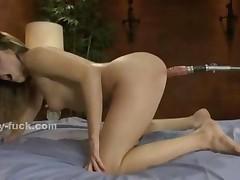 Teen Babe With Round Forms Rides Fucking Machines Masturbating..