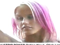 Pink Haired Girl Strips Out Of Leather Bikini