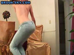 Topless Teen Strips Jeans