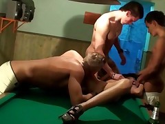 Three Guys Rented A Sauna And Invited A Gorgeous Brunette...