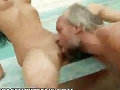 Old Albert Fucking By The Pool
