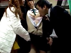 Schoolgirl Getting Her Tits Rubbed Giving Blowjob For Business..