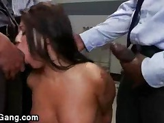 Busty Brunette Babe Throat Fucked By Doctors