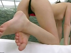 Beauty With Sexy Legs Giving Blowjob And Footjob