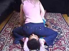 Mistress In Jeans Explodes Stinky Air Straight To Mans Face