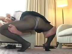 Schoolgirl In Pantyhose Giving Blowjob For Guy Fingered..