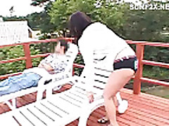 Mosaic Piss: Asian teen gets pussy fingered outdoor