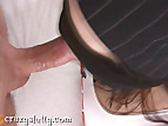 Bounded girl with bandaged eyes gives blowjob facial!