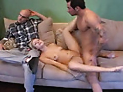 Husband watchs his fine blonde wife get fucked