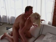 Petite young blonde erotic sex with muscular guy