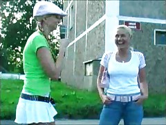 Blonde stalking girls for flashing 4