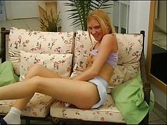 Young blonde with her dildo 2