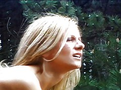 Blond sporty teen nailed outdoors
