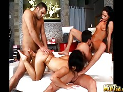 Two couples doing private orgy