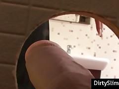 Elegant Babe Gives Blowjob On Bathroom Gloryhole
