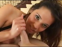 Girl gives a POV handjob