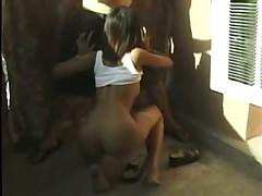 Asian Amateur Girl Sucking Cock on Balcony