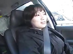 Shy Japanese Woman Shows Tits in Car