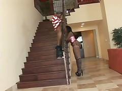 Aymee Austin black girl in pink corset