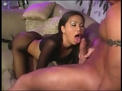 Asian girl in fishnet pantyhose likes cock