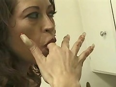 Busted mature handjob
