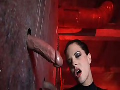 Aliz deepthroats three huge cocks in gloryhole