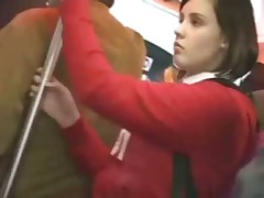 Cute girl fingered on a bus