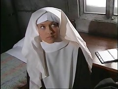 Older and younger nun play