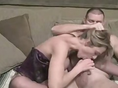 Sexy blond do blowjob and footjob
