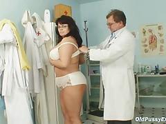 Busty mature woman Daniela tits and mature pussy gyno exam