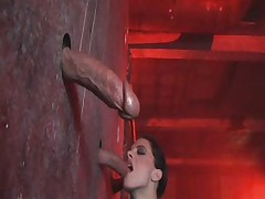 Aliz deepthroats three huge cocks in gloryhole