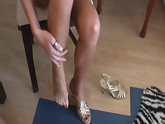 Footjob with red nails