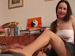 Sheer Tan Pantyhose Foot Worship and Footjob