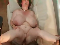 Granny with big tits.belly and glasses