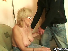 Blonde old bag gives head and gets pussy fucked