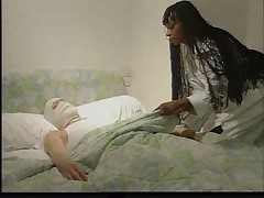 French black nurse makes patient feel better
